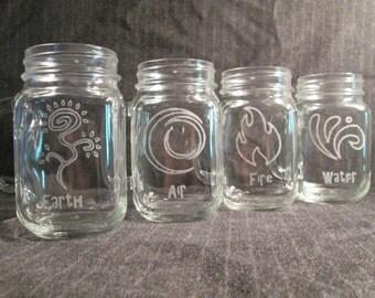 4 Elements Mason Jar Mug Set of 4