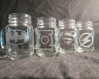 Superheroes Mason Jar Mug Set of 4 DC Comics