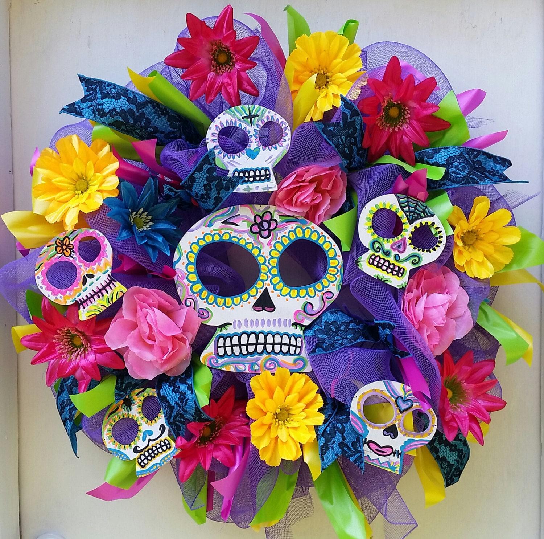 Dia de los muertos day of the dead sugar skull colorful for Decoracion de puertas de dia de muertos