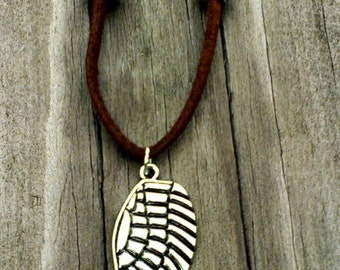 Brown Faux Leather Necklace, Feather Necklace, Brown Leather
