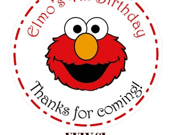 Custom Personalized Elmo Sticker Label - Perfect for Birthday Invitations, Party Favors, and Goodie Bags