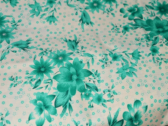 Floral print on white cotton fabric by yard for dress for Floral nursery fabric