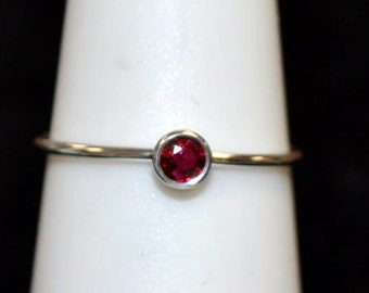 "14kt White Gold Ruby ""Stackable"" Ring"