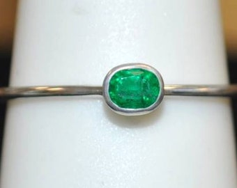"14kt White Gold Emerald ""Stackable"" Ring"