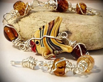 Beaded Wire Wrapped Fish Bracelet