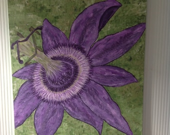 Passion flower on a stretched canvas