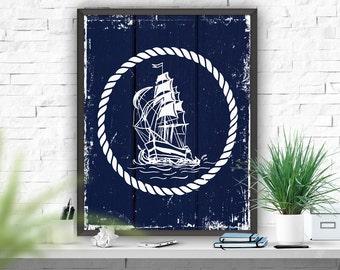 Wall Decor Art Print Nautical Printable Art Ship Art Print Rustic Nautical Decor Home Decor Instant Download Print Navy Blue Bedroom Decor