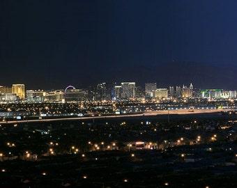 Las Vegas Skyline, Panorama, Long exposure, Night time. Lights, Luxor, Stratosphere, Aria, Las Vegas Strip