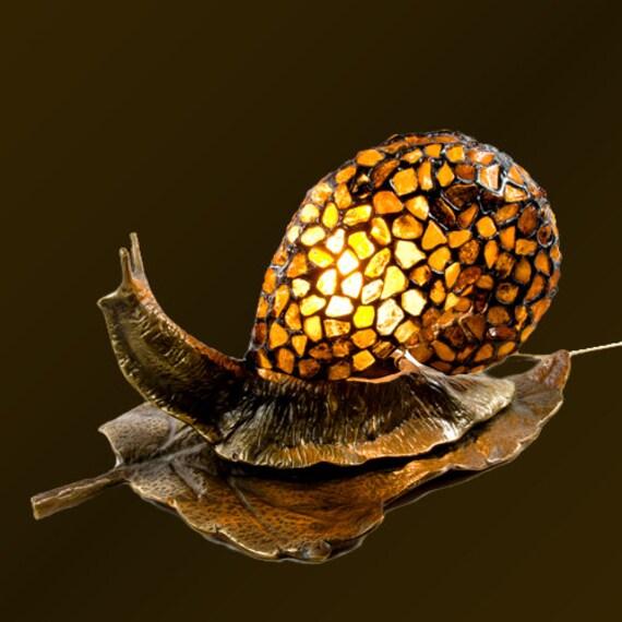 Snail Figurine, Brass Snail, Snail Shells, Amber Glass, Amber Lamp, Baltic Amber, Snail Lamp, Amber Glass Lamp, Snail Decor, Animal Lamp