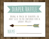 Diaper Raffle Insert. Printable. Arrow. Invitation Insert. Baby Shower. Boho. Baby. Boy