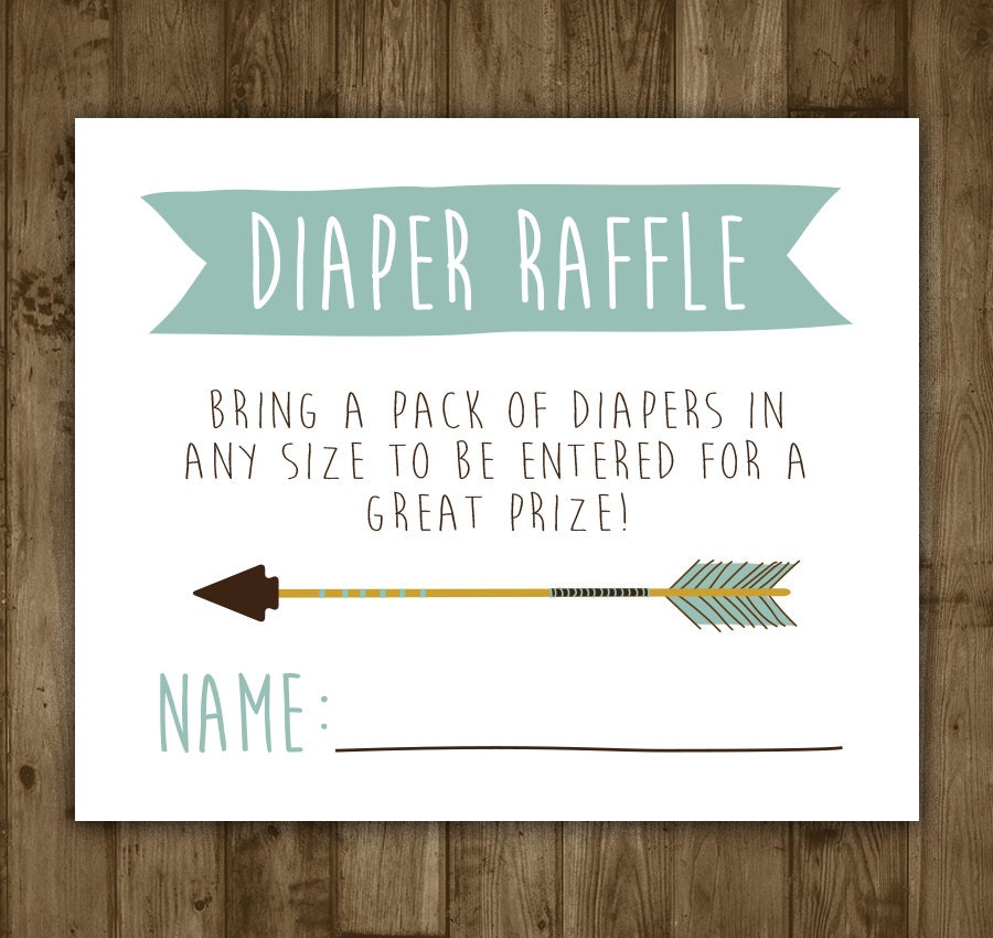 Baby Shower Diaper Raffle: Diaper Raffle Insert. Printable. Arrow. Invitation Insert
