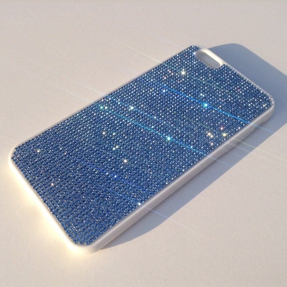 iPhone 6 Plus / 6s Plus Blue Sapphire Rhinestone Crystals White Rubber Case. Velvet/Silk Pouch Bag Included, Genuine Rangsee Crystal Cases