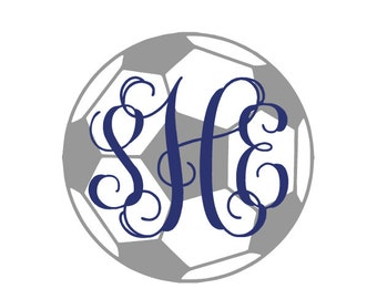Monogram Soccer Ball Decal ~ Personalized ~ Sports Decal ~ Car Decal