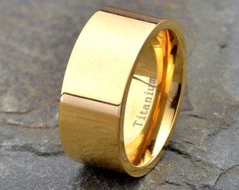 Yellow gold plated Titanium Wedding Band,polished 10mm width Anniversary rings Mens, Women's, Titanium ring, Custom Laser Engraving
