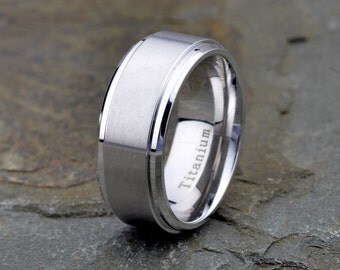 titanium band brushedpolished stepped edge 9mm width mens wedding bans