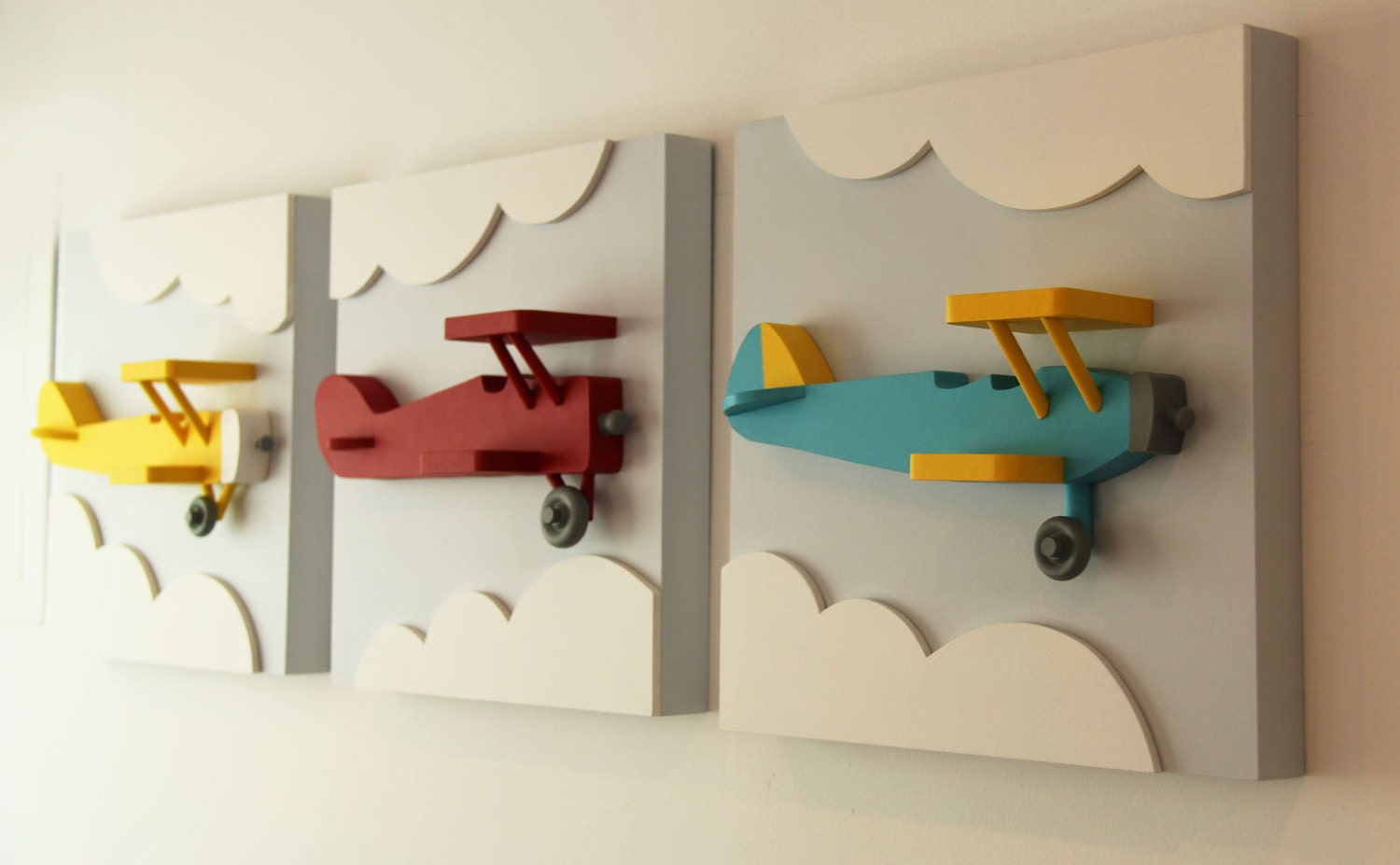 Set of 3 airplane wood wall art 3d airplane nursery by for Airplane wall decoration