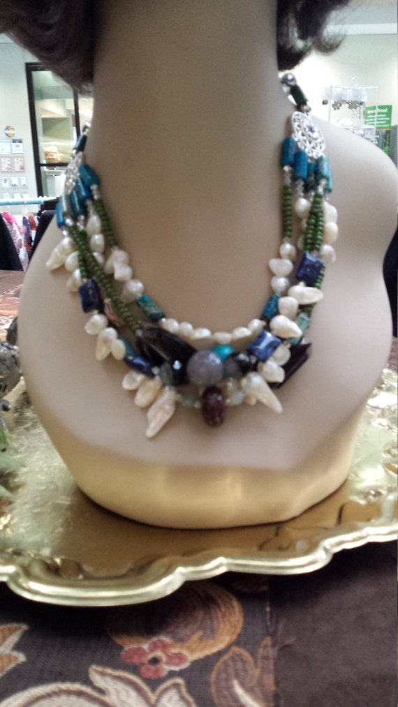 five strand beaded necklace with assorted colors