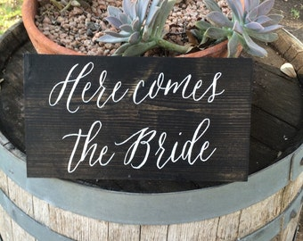 Here Comes The Bride Rustic Wooden Wedding Sign