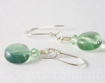Green fluorite and swarovski sterling silver short earrings