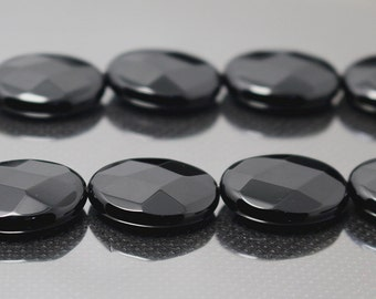 15x20 mm Natural Black Onyx faceted oval beads 15 inch 1 strand