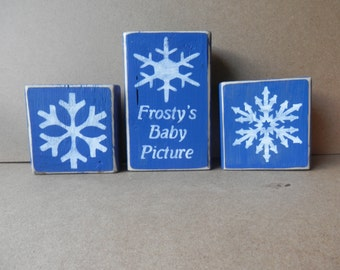 Frosty's Baby Picture rustic country shelf sitters set of 3