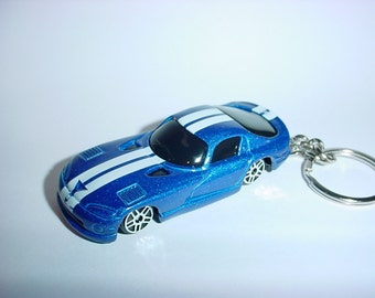 3D Dodge Viper GTS custom keychain by Brian Thornton keyring key chain finished in blue color trim diecast metal body