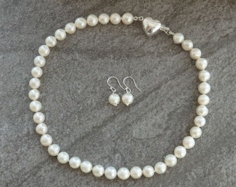 Freshwater Pearl Necklace, Pearl Earrings, White Pearls, Matching Pearls, Earrings in Silver, Bridal Pearls, Wedding Pearls