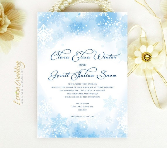 Cheap Cardstock For Wedding Invitations : Winter wedding Invitations Snowflake wedding by LemonWedding