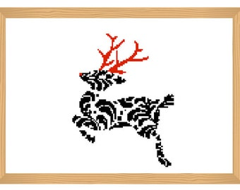 deer cross stitch pattern, winter cross stitch, ornamental, christmas pattern, abstract, romantic pattern, modern cross stitch, deer pattern