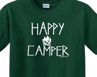Happy Camper T Shirt Tee Funny Camping Skater Boy Scout Redneck Country Family USA
