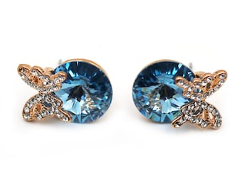 Gold Butterfly blueSwarovski Crystal Earrings