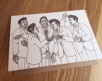 Rhythm & Blues, Greeting Card, Art Print 'Doo Wop' *Free UK postage*