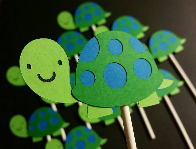 Turtle Cupcake Toppers Turtle Theme Tortoise Theme