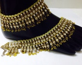 Indian New Year sale Traditional Bridal Gold Tone Yellow Polki Women costume Jewelry Bollywood Anklet Pair Festival Sale