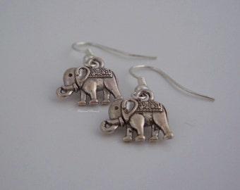 elephant earrings, Tibetan silver