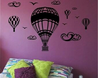Hot Air Ballon Wall Decal Sticker Art Decor Bedroom Design Mural vinyl sky flying kids room home decor