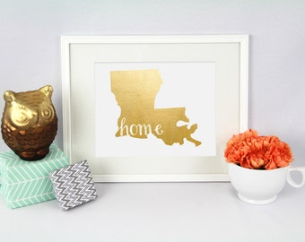 Louisiana Home State Collection Foil Pressed Print