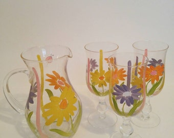 Vintage Hand Painted Glass Pitcher & Cup Set
