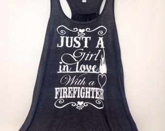 Just a Girl in love with a Firefighter Flowy Racerback Tank