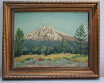 1943 Colorado Pike's Peak Oil Painting on Masonite Signed