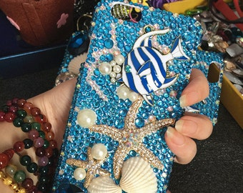 Bling Charms Ocean Blue Starfish Shell Sparkles Pearls Crystals Rhinestones Diamonds Gems Fashion Lovely Hard Cover Case for Mobile Phones