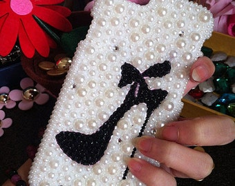 New Charms Bling Pearls Sparkles Girly High-heeled shoes Crystals Rhinestones Diamonds Gems Fashion Lovely Hard Cover Case for Mobile Phone