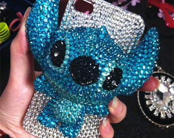 New Bling Sparkles Luxury Blue 3D Stitch Unique Charms Gems Crystals Rhinestones Diamonds Fashion Lovely Hard Cover Case for Mobile Phones