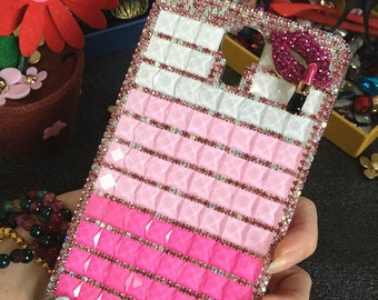 New Bling Lips Sparkly Cute Girly Pink Gems Gemstones Crystals Rhinestones Diamonds Fashion Lovely Hard Cover Case for Various Mobile Phones