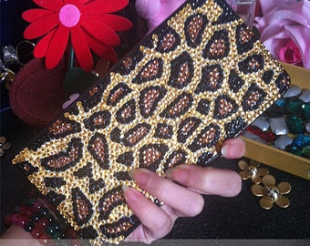 Flip Slot Cards Holder Cheetah Print Wallet Leather Bling Luxury Lovely Fashion Crystals Rhinestones Diamonds Gem Hard Case for Mobile Phone