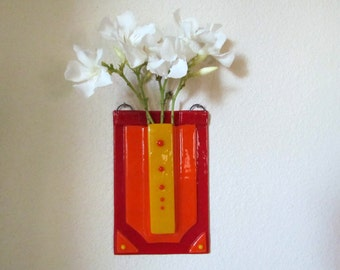 Fused Glass Wall Vase, Red Vase, Pocket Vase, Hanging Vase, Flower Vase, Wall Pocket, Bud Vase,  Wall Art, Red Orange Vase, Wall Decor