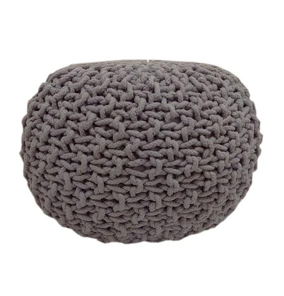 Handmade knitted pouf light grey hand knit pouf ottoman - Knitted pouf ottoman pattern ...