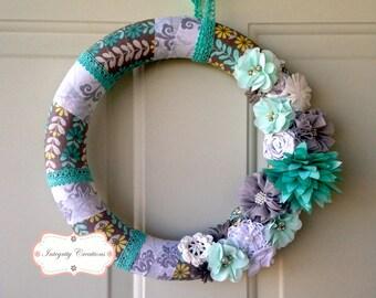 Cloth Wrapped Wreath - Everyday Wreath - Summer Wreath - Mint and Gray Wreath