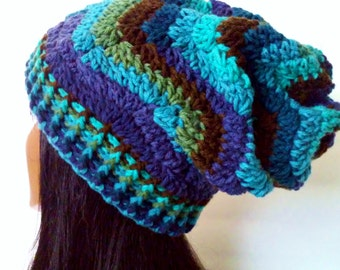 BLUE CHEVRON SLOUCHY,blue green slouchy hat, womens hat, slouchy beanie, blue and green stripe hat,