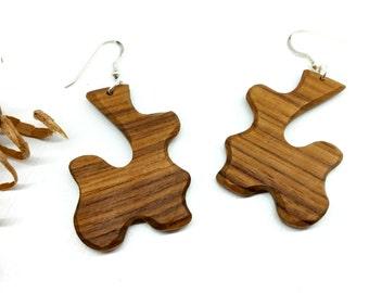Hand Carved Wood, Wood Earrings, OOAK Wood Earrings, Wooden Jewelry, Handmade Earrings, Wooden Earrings, Unique Earrings, Dangle Earrings,